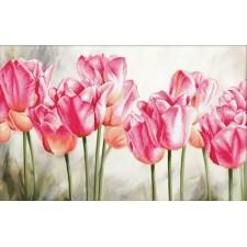 Voorbedrukt borduurpakket Pink Tulips