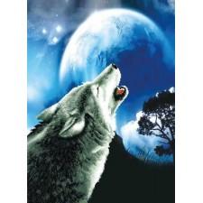 Voorbedrukt borduurpakket Howling Wolf