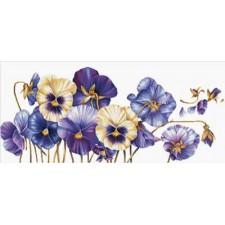 Voorbedrukt borduurpakket Purple Pansies