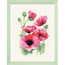 Borduurpakket Roze klaprozen - Pink Poppies