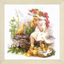 Borduurpakket Meisje met eendjes - Girl with Ducklings