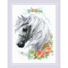 Borduurpakket Witte manen en Rozen - White Mane and Roses