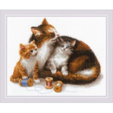 Borduurpakket Poes met Kittens - Cat with Kittens
