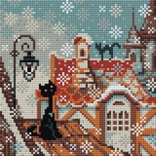 Diamond Mosaic Winterkatten in de stad - City & Cats Winter