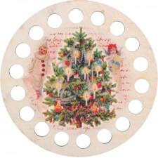 Garenhouder Houten geperforeerde multiplex - Rond opdruk Kerst
