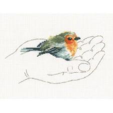 Borduurpakket Vogeltje in handpalm -Warmt in Palms