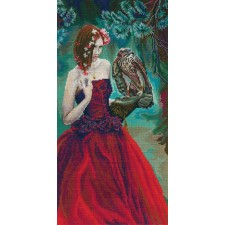 Cross stitch kit Girl with Hawk