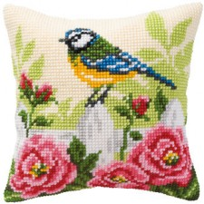 Cross stitch cushion kit Finch