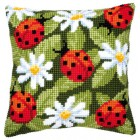 Cross stitch cushion kit Ladybirds