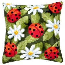 Cross stitch cushion kit Ladybirds
