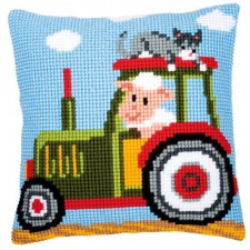 Cross stitch cushion kit Tractor