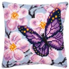 Cross stitch cushion kit Purple butterfly
