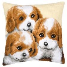 Cross stitch cushion kit 3 Puppies