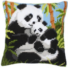 Cross stitch cushion kit Panda family