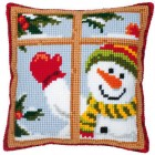 Cross stitch cushion kit Happy snowman