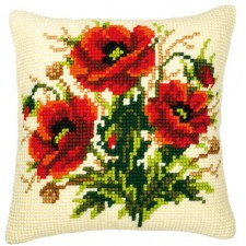 Cross stitch cushion kit Poppies
