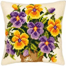 Cross stitch cushion kit Pansy posy