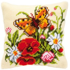 Cross stitch cushion kit Flowers with a butterfly