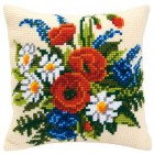 Cross stitch cushion kit Field-flowers