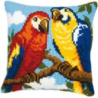 Cross stitch cushion kit Parrots