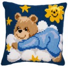 Cross stitch cushion kit Blue bear on a cloud