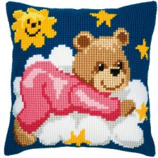 Cross stitch cushion kit Pink bear on a cloud