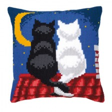 Cross stitch cushion kit Cats in the night