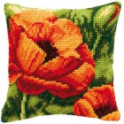Cross stitch cushion kit Orange flower