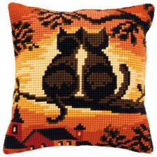 Cross stitch cushion kit Cats on a branch