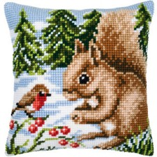 Cross stitch cushion kit Squirrel in the snow