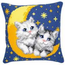 Cross stitch cushion kit Cats on the moon