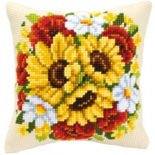 Cross stitch cushion kit Floral posy