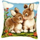Cross stitch cushion kit Rabbits