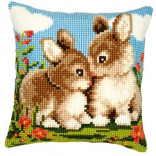 Cross stitch cushion kit Rabbits