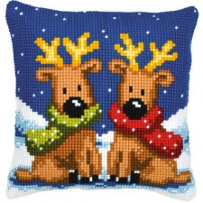 Cross stitch cushion kit Reindeer twins