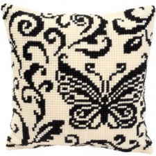 Cross stitch cushion kit Black and white butterfly