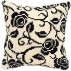 Cross stitch cushion kit Black rose