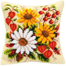 Cross stitch cushion kit Floral delight