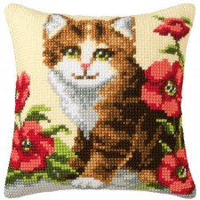 (OP=OP) Cross stitch cushion kit Ginger kitten
