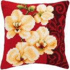 Cross stitch cushion kit White orchids