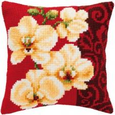 Cross stitch cushion kit White orchids