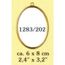 Plastic frame gold oval (p.1pc.)