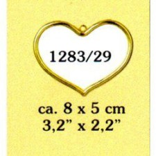 Plastic frame gold heart (p.1pc.)