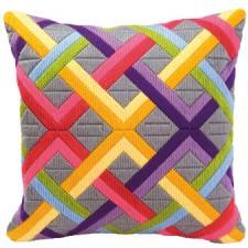 Long stitch cushion kit Colourful diagonals ongrey