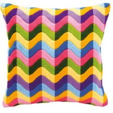 Long stitch cushion kit Colourful waves
