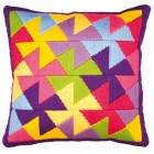 Long stitch cushion kit Colourful geometric