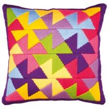 Long stitch cushion kit Colourful geometric