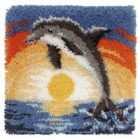 Latch hook cushion kit Dolphin at sunset