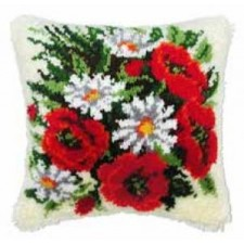 Latch hook cushion kit Roses and daisies