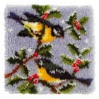 Latch hook cushion kit Birds on tree branch